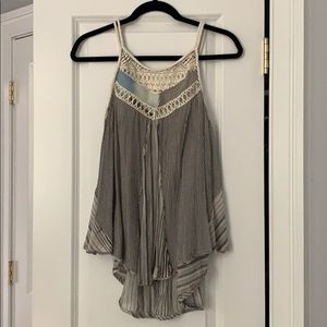 Free People Striped Flowy Patchwork Tank Small